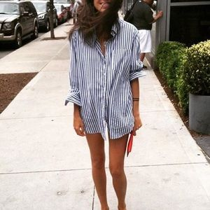 Oversized Striped Button Down Shirt Shirt Dress